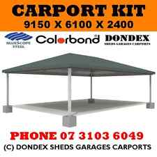 DONDEX Triple Hip Roof Carport Kit 9.15x6.1x2.4 Colorbond Roof Facia & Gutters