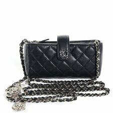 CHANEL Black Quilted Wallet On Chain Crossbody Phone Bag Charm WOC LIMITED