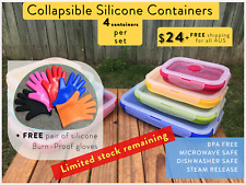 Brand New COLLAPSIBLE Tupperware Storage Lunchbox Containers + FREE Gloves