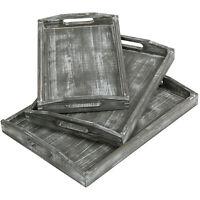 MyGift Set of 3 Gray Whitewashed Barn Wood Style Nesting Breakfast Serving Trays