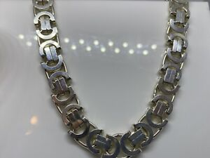 925 Genuine Sterling Silver 11mm Byzantine type Chain All Sizes