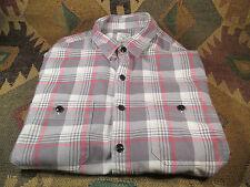 $$$ J. Crew in Sunwashed Red & Grey  Flanel Plaid Shirt Size Medium