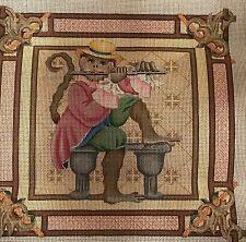 Melissa Shirley Needlepoint Canvas Monkey Playing Flute Hand Painted 12 x 12 New
