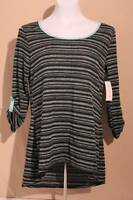 NEW Womens Hi-Low Tunic Scoop Neck Shirt Small Top Blue Black Stripe 3/4 Sleeve