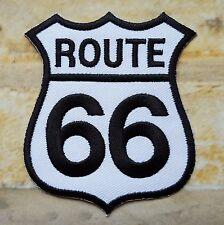 Stemma toppa termoadesivo ricamata route 66 USA biker- fondo bianco