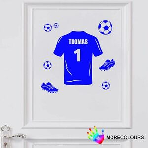 FOOTBALL SHIRT PERSONALISED NAME WALL ART STICKER BOYS GIRLS BEDROOM DECAL