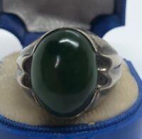 Vintage Sterling Silver Ring 925 Size 9 Collets Jade Signed Mens
