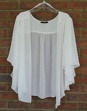 Womens OFF WHITE /Lt Beige Cream  Plus Size 4X Chiffon Cardigan Bolero Shrug Top