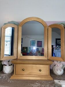 Wooden Three Fold Vanity Mirror & Drawer (Heavy!)
