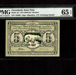Greenland 5 Kroner 1926-1945 P-15c * PMG Gem Unc 65 EPQ * Small Signature *