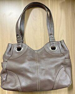 Tignanello Brown Leather Shoulder Bag Handbag Purse