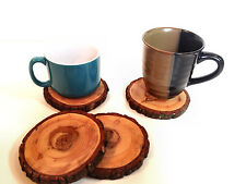 4 natural wood round coasters - made of Oregon Douglas Fir - Set of 4