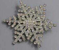 Vintage Jewelry Faceted Crystal Snowflake BROOCH PIN Rhinestone Lot V