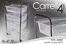 CARRELLO CUCINA METALLO 36*47*H82 CM PORTAFRUTTA 4 CESTE RESINA RUOTE ECE 620027