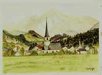 Aquarell,sign.Freund 1945, alpenländisches Dorf vor Gebirgsmassiv