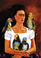 Frida Kahlo - Me and my Parrots - HUGE A1 size 59.4x84cm Canvas Print Unframed
