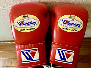 Winning Boxing Used Fight Gloves 8OZ Red MS-200 Made In Japan