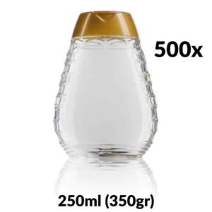 500x 250ml (350g) PET Plastic Clear Easy Squeezy Honey Bottle Dispenser