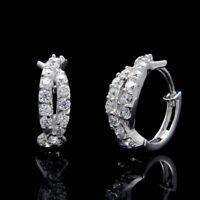 0.50 Ct Round Cut Diamond Huggie Hoop Earrings Fine 14k White Gold GP Jewelry