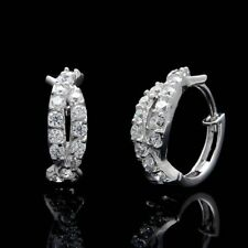 0.50 Ct Round Cut Diamond Huggie Hoop Earrings Fine 14k White Gold GP Jewelry