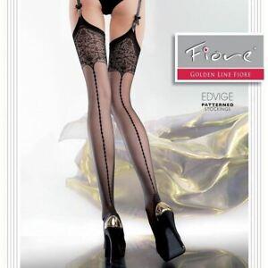 Sheer Faux Back Seam Garter Stockings Edvige 20 Denier Fashion Nylons