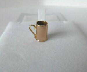 9ct Gold Charm Mug Cup Tankard Vintage Rose Dangle with Gift Box