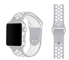 Silicone Rubber Wristband Strap For Apple i-Watch Size 38mm - Grey White