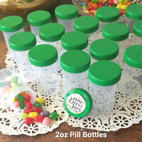 18 Pill Bottle Jars Green Cap Lid Party Favor 2 oz  Container #4314 DecoJars USA