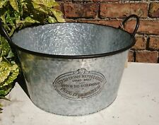 Zinc Metal Bowl Bucket Garden Planter with Handles Stunning Sturdy NEW
