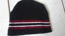 Beanie Mütze, schwarz mit Streifen, Einheitsgröße