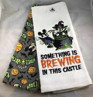 Disney Parks Happy Halloween Mickey Minnie Mouse Brewing Kitchen Towel Set Dish