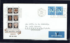 Jersey 1966 QE II Official Regional Double 4d Stamps Airmail FDC -  Addressed
