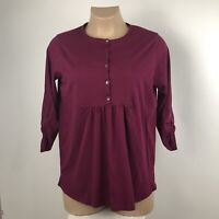 J Jill Womens Tunic Top Size 1X Burgundy 3/4 Sleeve Cotton Spandex