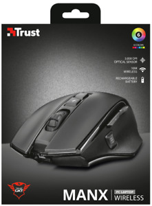 TRUST 21790 GXT 140 MANX 3000 DPI BLACK GAMING MOUSE WITH RECHARGEABLE BATTERY