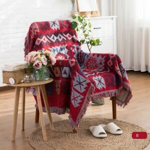 Double Sided Blanket Fringed Sofa Towel Throws Slip Cover Tapestry Retro Decor
