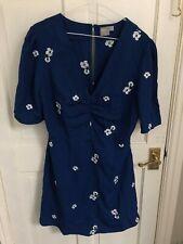 ASOS Blue White Embroidered Flower Summer V-Neck Tea Dress   Size 14