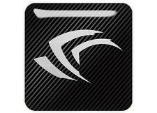 "nVidia GeForce Black Logo 1""x1"" Chrome Domed Case Badge / Sticker Logo"
