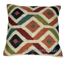 Indian Handwoven Jute Cushion cover Case Ethnic Hand made Kilim Rug Pillow Throw