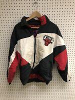 Vintage Chicago Bulls Pro Player White Black Jacket Coat Sz M