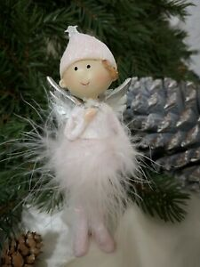 Angel Decorative Figurine Spring Pink Christmas Shabby Vintage 14cmx5cm