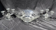 Vintage Glass Console Set 3 Light Candle Holders & Bowl Cut Flowers Indiana #400