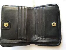 Coach Vintage Leather Black Grain Zip Around Coin Wallet