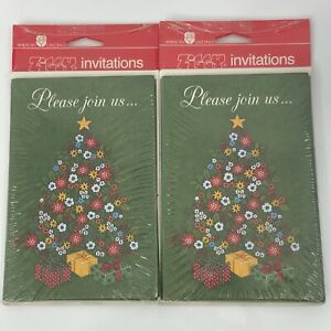 Vintage Christmas Party Invitations American Greetings 16 Cards and Envelopes