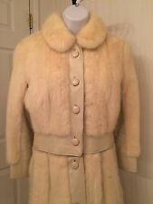 vintage 1960's white mink and leather coat, bottom zips off for jacket
