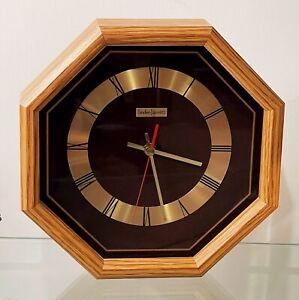 Vintage Linden Early 80s Modernist Octagonal Oak w Brown & Gold Face Wall Clock