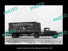 OLD 8x6 HISTORIC PHOTO OF LAFAYETTE INDIANA, THE TIPPECANOE BEER TRUCK c1940