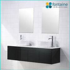 Black Gloss Vanity Unit Wall Hung Mounted 1500 Twin Double Ceramic Basins Doors
