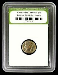 Slabbed Roman Constantine Great Era Ancient Bronze Coin c330 AD