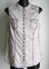 Women's Sleeveless Casual Regular Size Button Down Shirts
