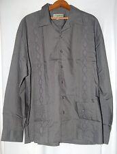 Vintage Haband Mens Mexican Dress Shirt Cuban Cigar Gray Xl Guayabera Ls Button
